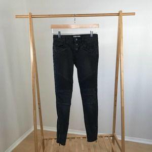 Free People • Millennium Moto Black Jeans Zippers